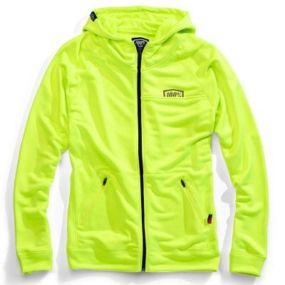 Sweat zip capuche 100% Union jaune fluo