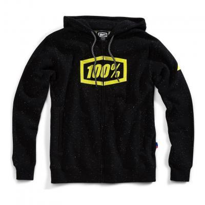 Sweat zippé à capuche 100% Syndicate noir/jaune