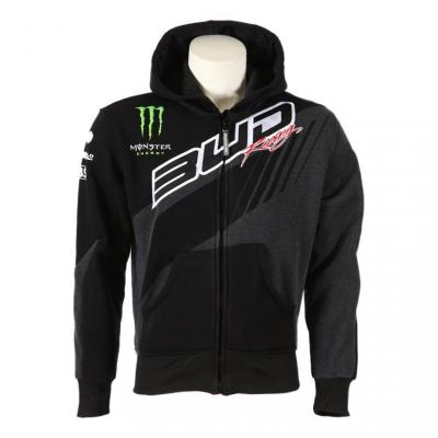 Sweat zippé à capuche enfant Bud Racing Team 17 gris/noir