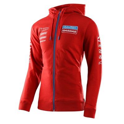 Sweat zippé à capuche Troy Lee Designs Team Gas Gas rouge
