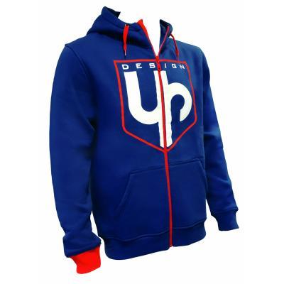 Sweat zippé à capuche UP Design bleu