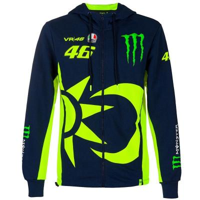 Sweat zippé à capuche VR46 Replic Monster bleu 2020
