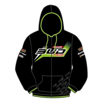 Sweat zippé enfant Bud Racing Hodded Staff Bud 16 noir/vert