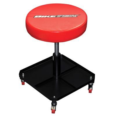 Tabouret d'atelier à roulettes rouge réglable en hauteur