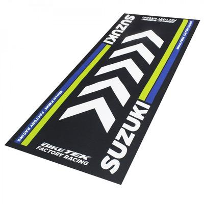 Tapis de garage BikeTek Serie 4 Suzuki noir/jaune/bleu 190x80cm
