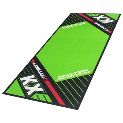 Tapis de garage BikeTek Serie 6 Kawasaki KX noir/vert/rouge 190x80cm