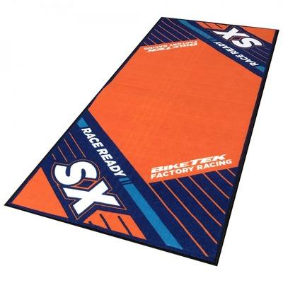 Tapis de garage BikeTek Serie 6 KTM SX orange/bleu 190x80cm