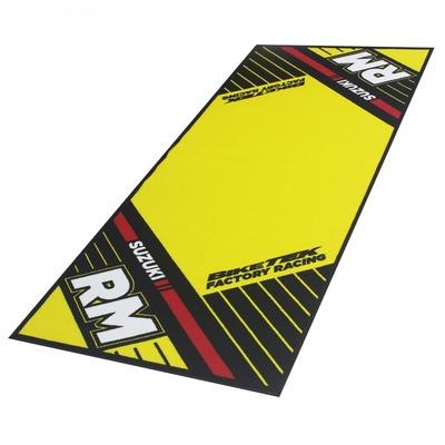 Tapis de garage BikeTek Serie 6 Suzuki RM noir/jaune/rouge 190x80cm