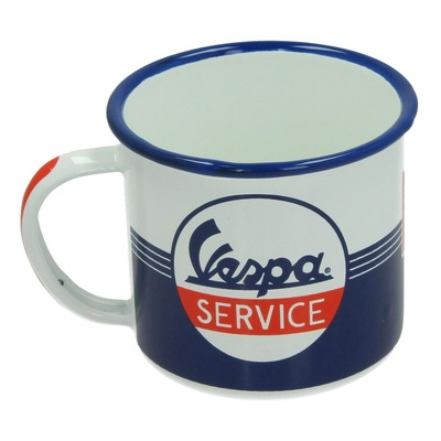 Tasse émail Vespa Service bleu/blanc