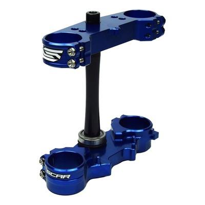 Té de fourche Scar offset 25mm Yamaha 125 YZ 15-21 bleu