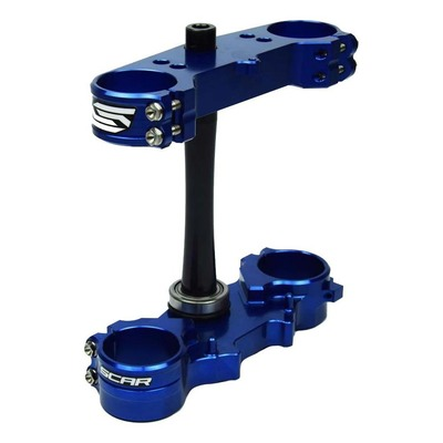 Té de fourche Scar offset 25mm Yamaha 250 YZ 15-21 bleu