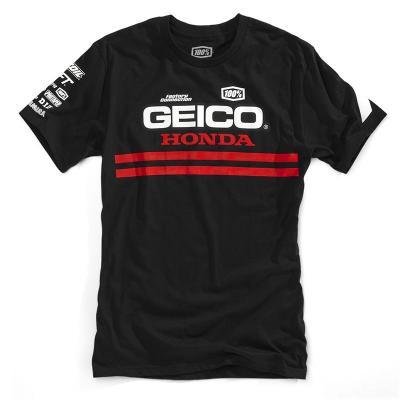 Tee-shirt 100% Contrail Geico/Honda noir