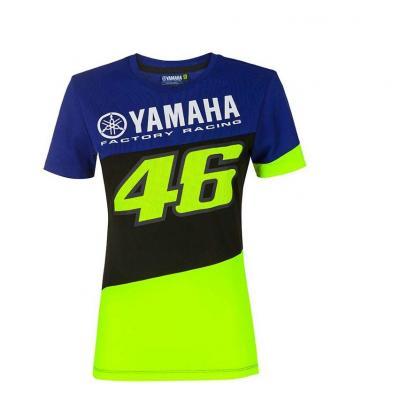 Tee-shirt femme VR46 Racing Yamaha bleu/noir/jaune