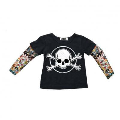 Tee-shirt manche longue enfant Lethal Threat Skull & bones tatoo noir