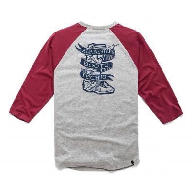 Tee-shirt manches longues Booted Premium Raglan gris/rouge