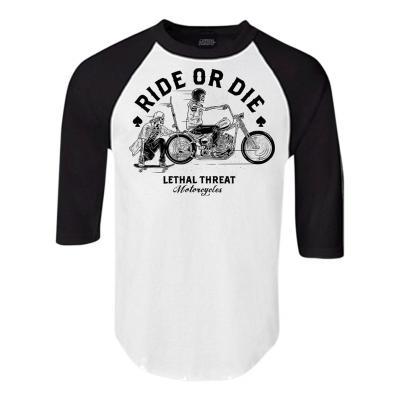 Tee-shirt manches mi-longues Lethal Threat Ride Or Die blanc/noir