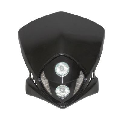 Tête de fourche Replay Duke noir à leds blanches avec halogène 2x20w