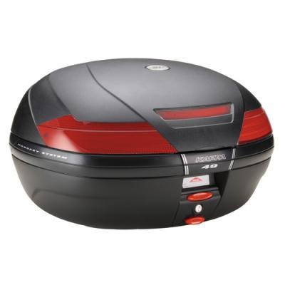 Top case Kappa K49 Monokey 47 Litres capot noir brut/catadioptre rouge