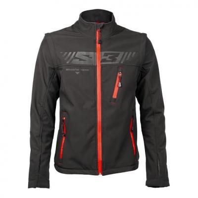 Veste S3 Softshell Protec noir/rouge