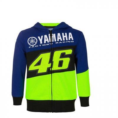 Veste zip enfant VR46 Racing Yamaha sweat à capuche bleu/noir/jaune