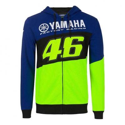 Veste zip VR46 Racing Yamaha sweat à capuche bleu/noir/jaune