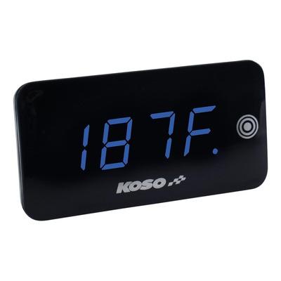 Voltmètre thermomètre Koso Slim Line nouvelle génération bleu