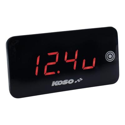 Voltmètre thermomètre Koso Slim Line nouvelle génération rouge