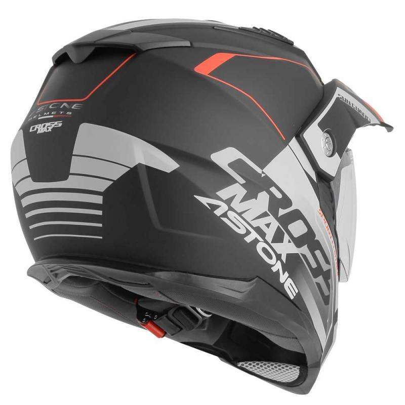 Casque intégral Trail Astone CROSSMAX ROAD mat noir/gris/rouge - 4