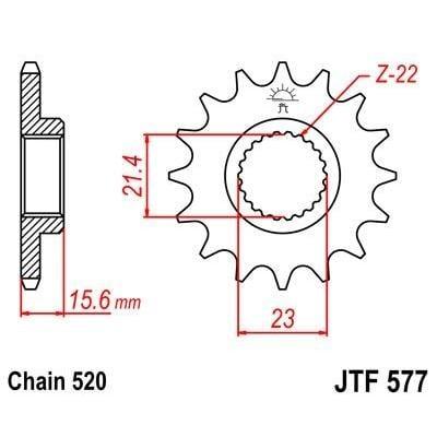 Pignon JT Sprockets Acier pas 520 15 dents - Pour Yamaha XT 600 E 87-98