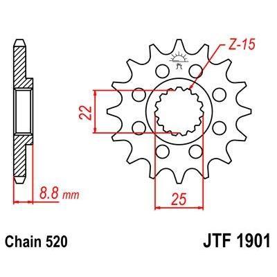 Pignon JT Sprockets Acier pas 520 15 dents - Pour KTM EXC 250 00-03