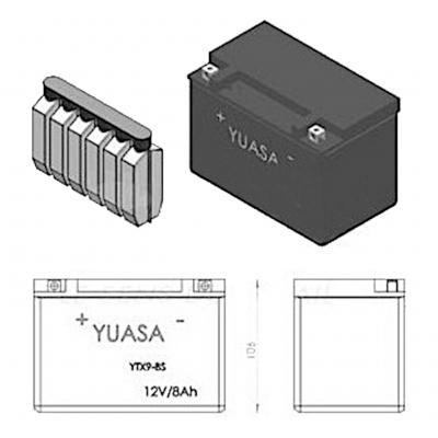 Batterie Yuasa YTX9-BS 12V 8Ah