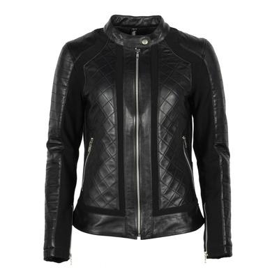 Blouson textile/cuir Helstons Kate soft stretch noir/noir
