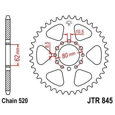 Couronne JT Sprockets Acier pas 520 45 dents - Pour Yamaha YZ 100 80-81