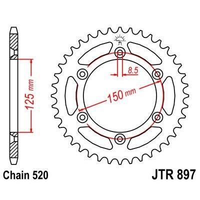 Couronne JT Sprockets Acier pas 520 47 dents - Pour KTM 250 EXC 05-11