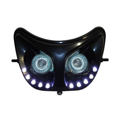 Double optique Replay RR8 noir avec leds blanches pour Derbi Senda