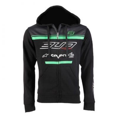 Sweat à capuche zippé enfant Bud Racing Team 19 vert/noir