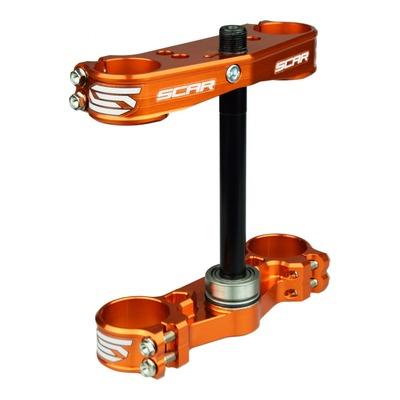 Té de fourche Scar orange offset 22 mm pour KTM SX 65 12-16