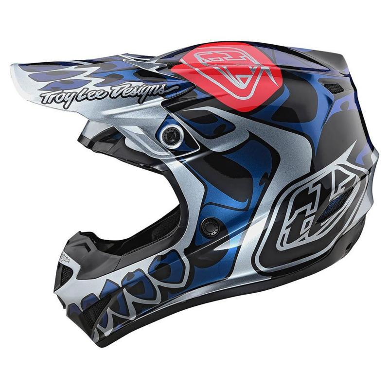 Casque cross Troy Lee Designs SE4 Polyacrylite Skully Mips argent - 1