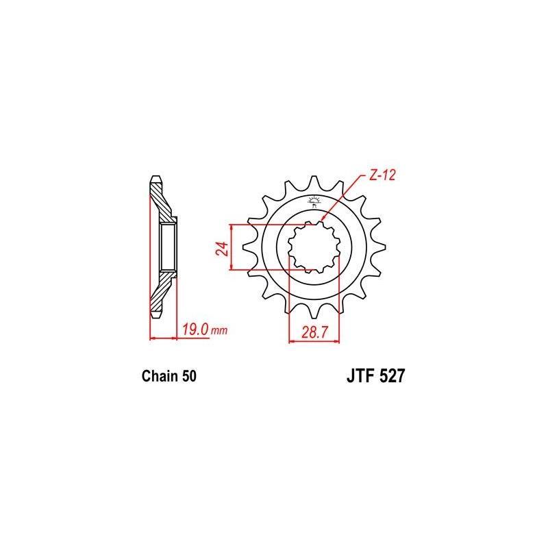 Pignon JT Sprockets Acier pas 530 17 dents - Pour Kawasaki ZX 10 Tomcat 88-90