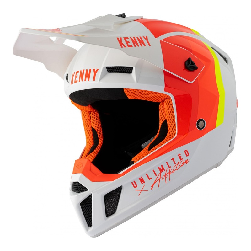 Casque cross Kenny Performance Graphic blanc/rouge/orange