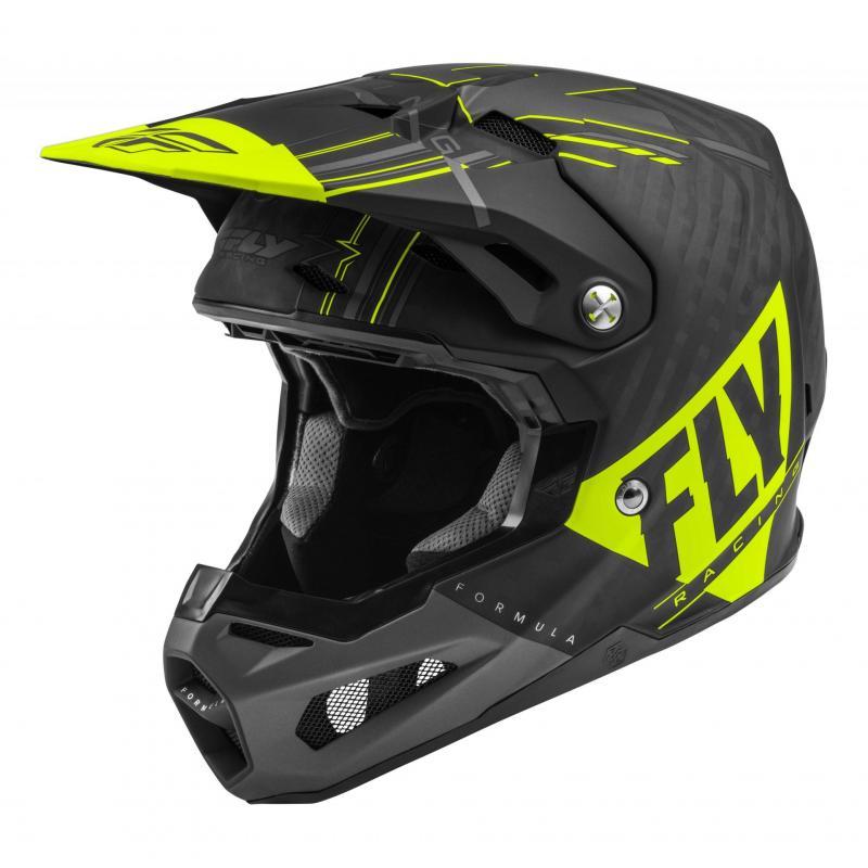 Casque cross Fly Racing Formula Carbon Vector jaune fluo/gris/noir mat