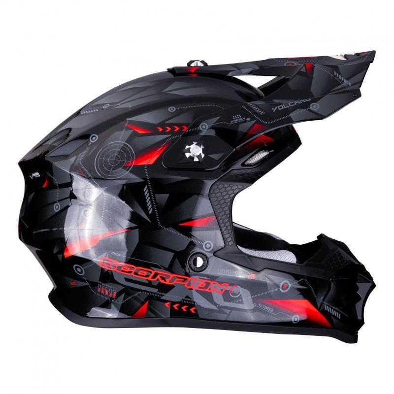 Casque cross Scorpion VX-16 Air Punch noir/argent/rouge - 1