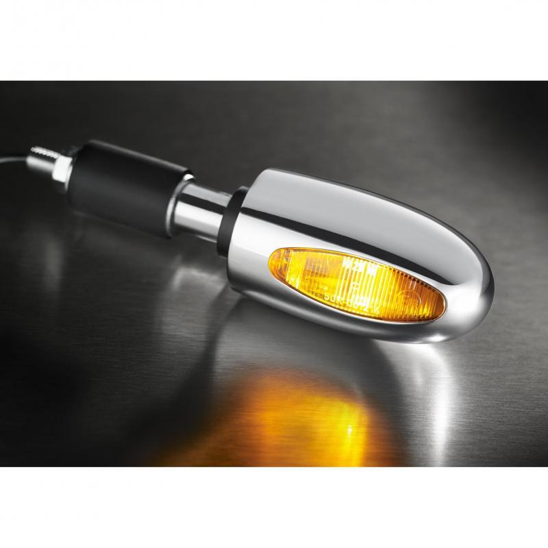 Clignotant embout de guidon Kellermann BL 1000 hallogène laiton chromé lentille ambre - 2