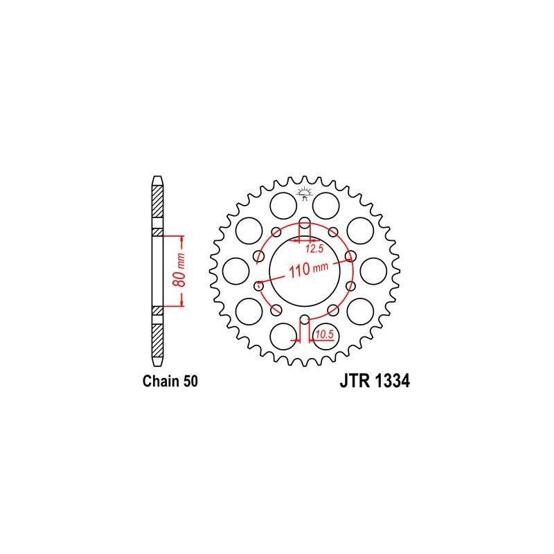 Couronne JT Sprockets Acier pas 530 36 dents - Pour Honda CB 450 NF PC 14 1985