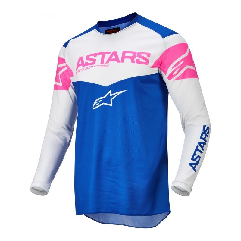 Maillot cross Alpinestars Fluid Tripple bleu/off blanc/rose fluo