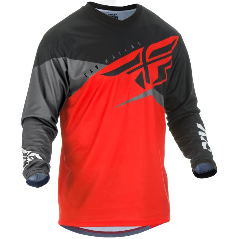 Maillot cross Fly Racing F-16 rouge/noir/gris