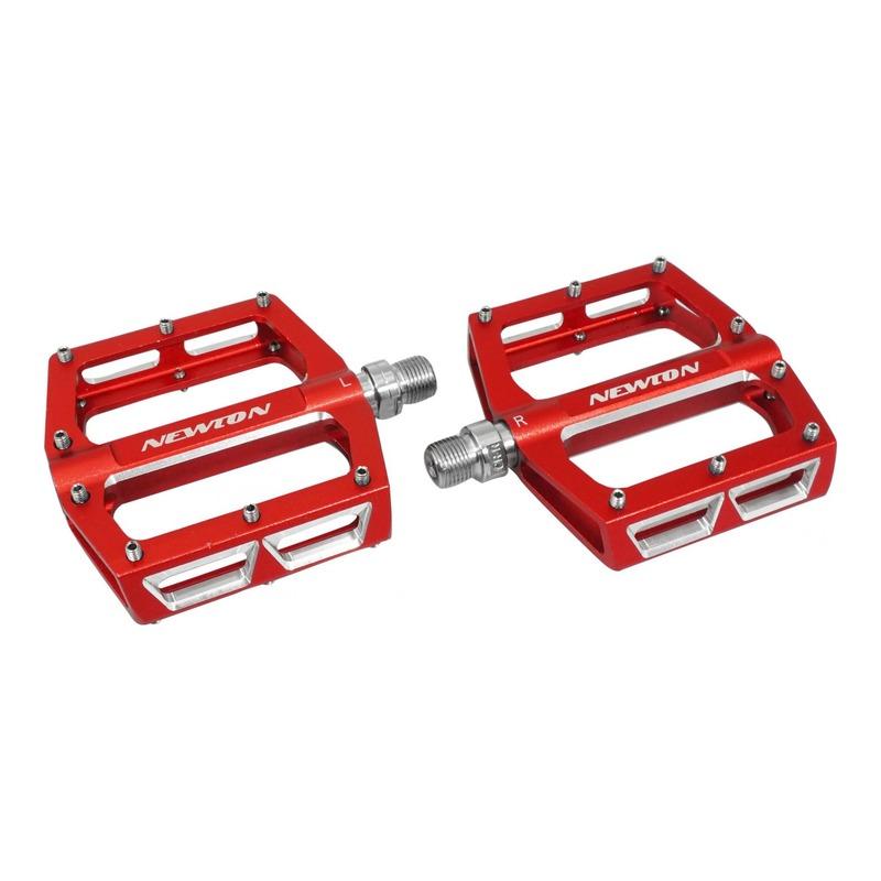 Pédales plates Newton 18x98mm aluminium 9/16'' rouge