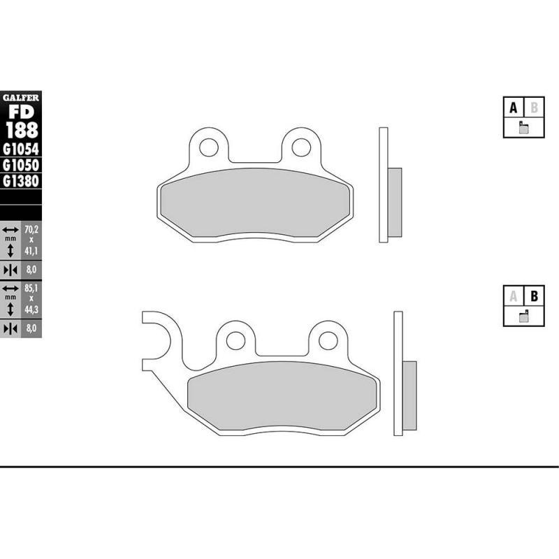 Plaquettes de frein Galfer G1050 semi-métal FD188 - 1