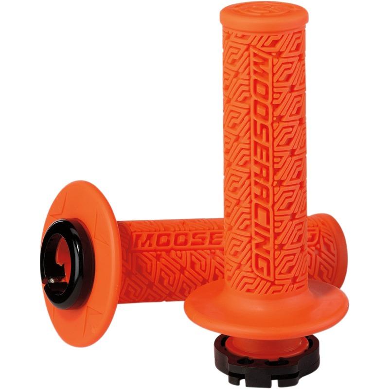 Revêtements de poignées Moose Racing Lock-On Grips oranges/noirs