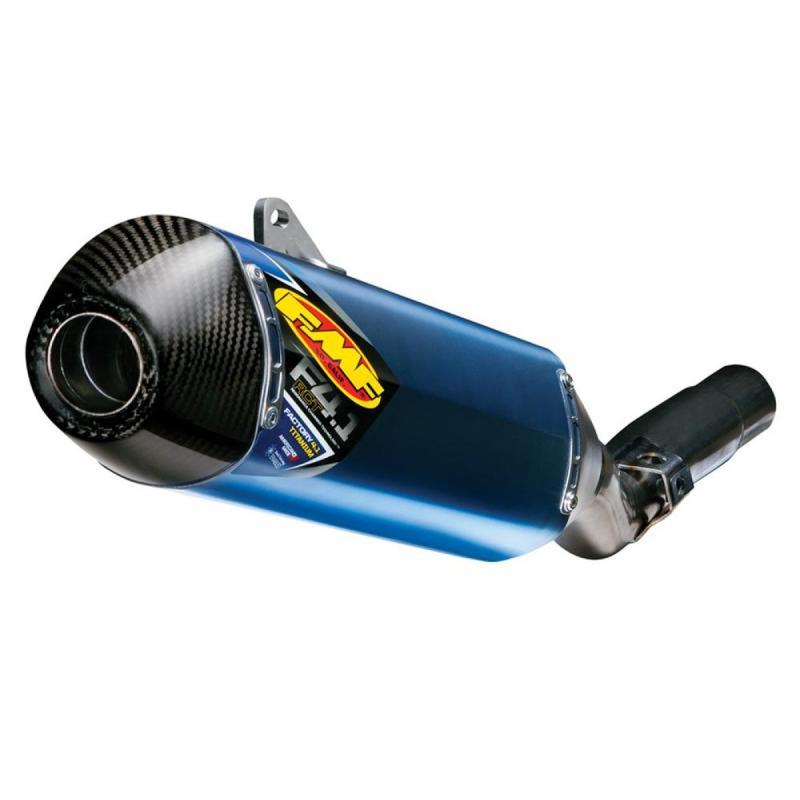 Silencieux FMF Factory 4.1 RCT titane anodisé bleu casquette carbone KTM SX-F 450 13-15